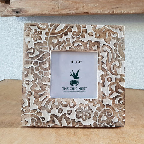 Floral Çarved Wooden Photo Frame 4 x 4 - The Chic Nest