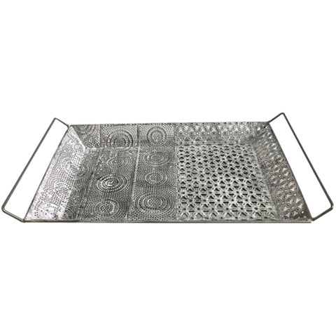 Floral Metal White Washed Tray - The Chic Nest