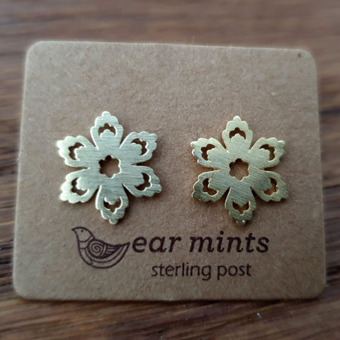 Brushed Metal Flower Ear Mints Earrings - Gold