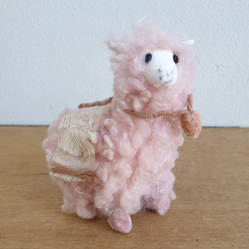 Fluffy Christmas Llama Hanging Ornament - Pink - The Chic Nest