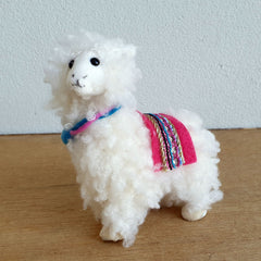 Fluffy Christmas Llama Hanging Ornament - Pink Saddle - The Chic Nest