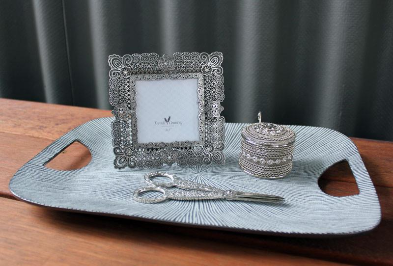 Ribbed Silver Tray - The Chic Nest