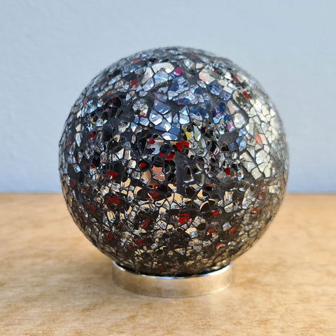 Friendship Ball Black, Silver & Red Mosaic