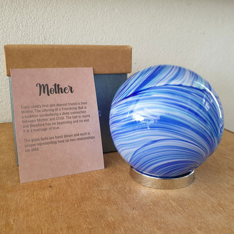 Mother Friendship Ball Bright Blue Swirls