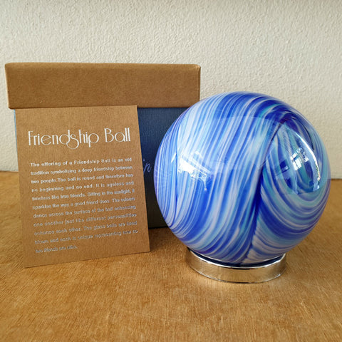 Friendship Ball Bright Blue Swirls