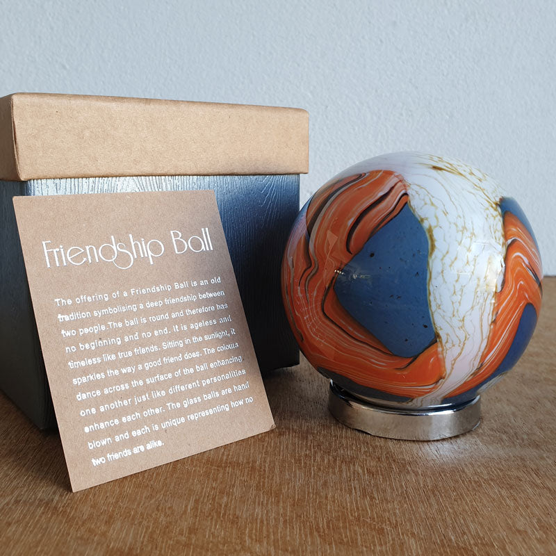 Friendship Ball Burnt Orange & Blue Swirls - The Chic Nest