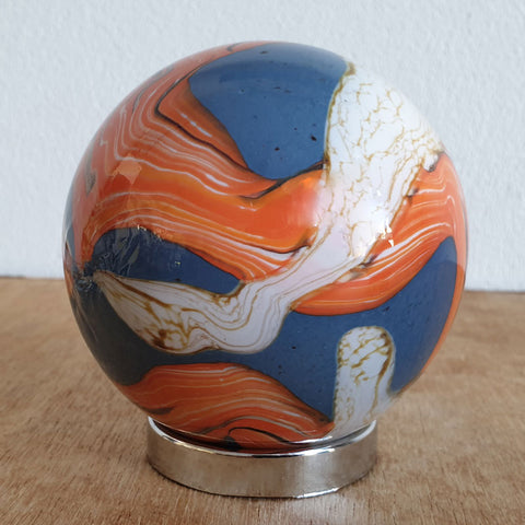 Mother Friendship Ball Burnt Orange & Blue Swirls - The Chic Nest