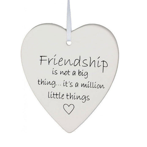 Hanging Heart Friendship Ornament - White
