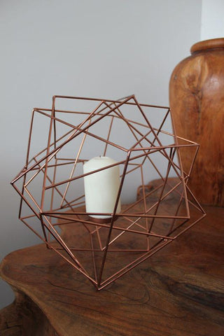 Geo Candle Holder - Copper - The Chic Nest