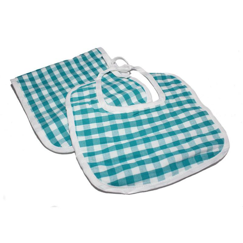 Gingham Blue Bib & Burp Set - The Chic Nest