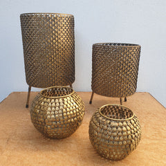 Gold Fanned Candle Holder - Small