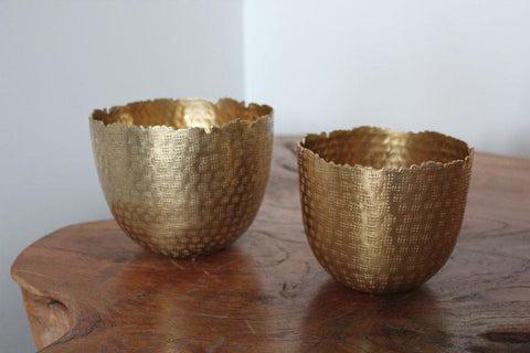 Gold Hammered Metallic Bowls Set of 2