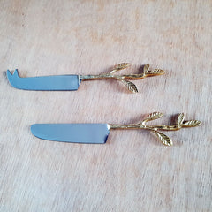 Gold Leaf Cheese Knife - The Chic Nest