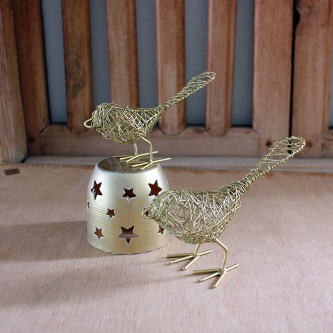Gold Wire Birds Set of 2
