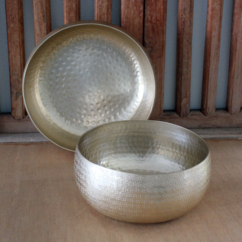 Gold Hammered Metallic Bowl 22cm - The Chic Nest