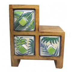 Tropical Palms 3 Drawer Step Box