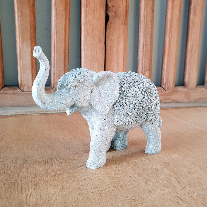 Elephant With Flowers Grey - Small - The Chic Nest