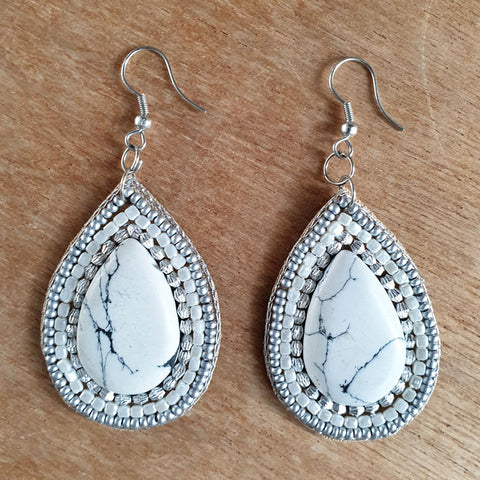 White Stone Hand Beaded Earrings - The Chic Nest