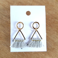 Grey Triangle Tassel Earrings - The Chic Nest