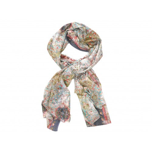 Grey, Mint & Pink Cotton Scarf - The Chic Nest