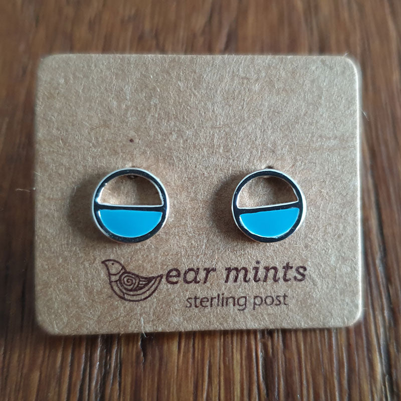 Round Half Circle Turquoise Ear Mints Earrings - Silver