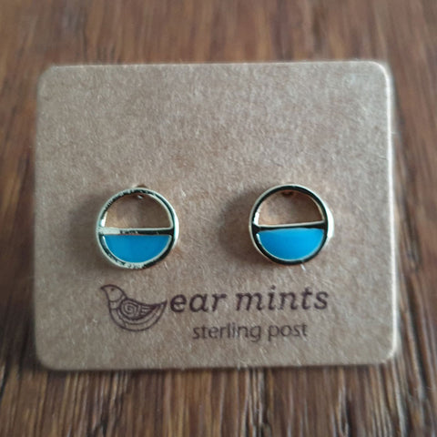 Round Half Circle Turquoise Ear Mints Earrings - Gold