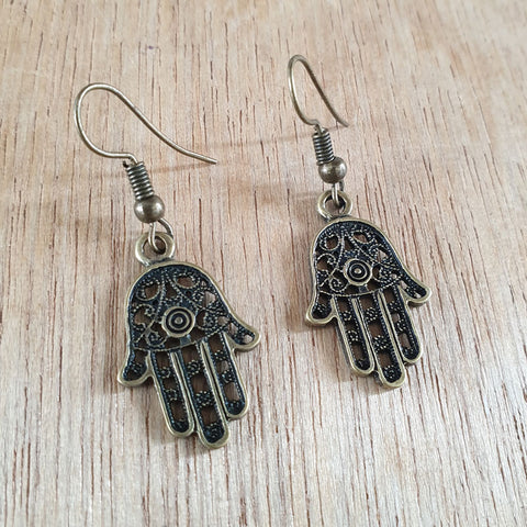 Mehndi Hands Brass Earrings