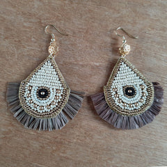 Hand Beaded Fringe Earrings