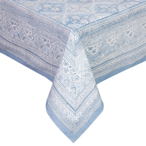 Handblock Print Blue Tablecloth - Handcrafted - The Chic Nest