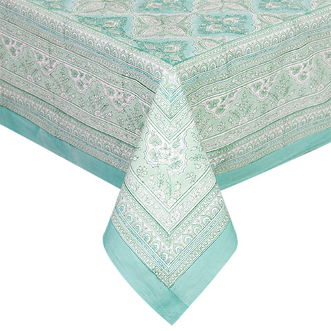 Handblock Print Mint Tablecloth - Handcrafted