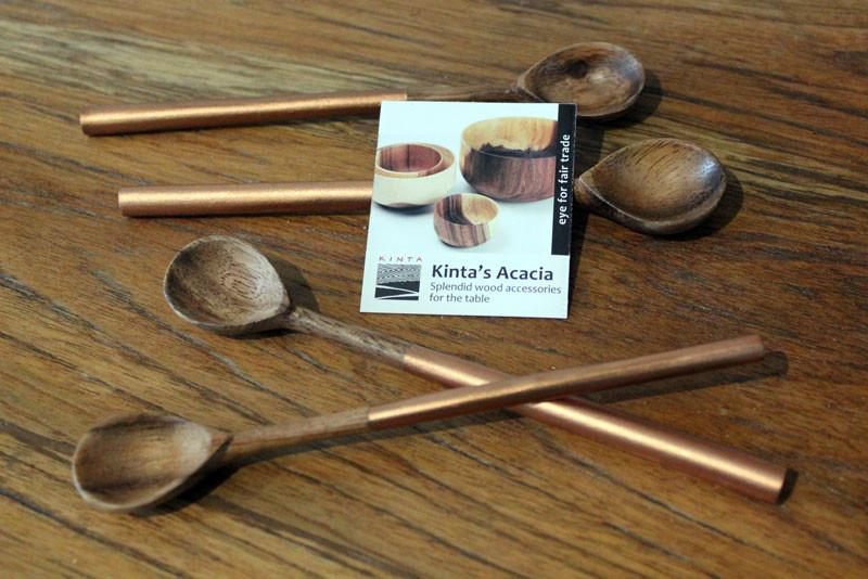 Handcrafted Acacia Wood Teaspoon - Copper