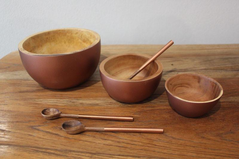 Handcrafted Acacia Wood Bowl Copper - 11cm - The Chic Nest