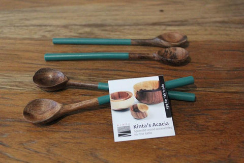 Handcrafted Acacia Wood Teaspoon - Blue - The Chic Nest