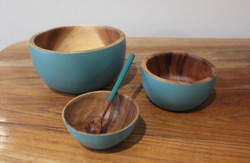 Handcrafted Acacia Wood Bowl Blue - 9cm - The Chic Nest