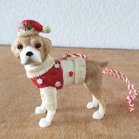 Hanging Beagle Christmas Ornament