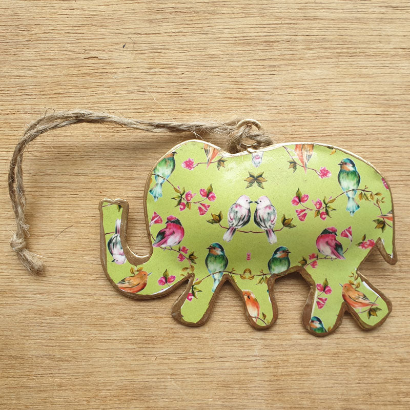 Bird Design Metal Elephant Ornament - The Chic Nest