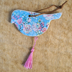Hanging Soft Blue Bird Ornament - Love
