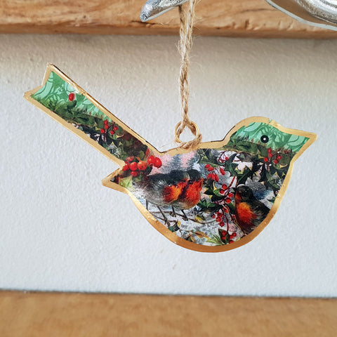 Patterned Bird Ornament - Holly