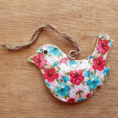 Bright Floral Metal Bird Ornament - The Chic Nest