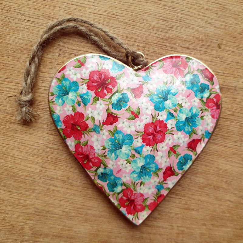 Bright Floral Metal Heart Ornament - The Chic Nest