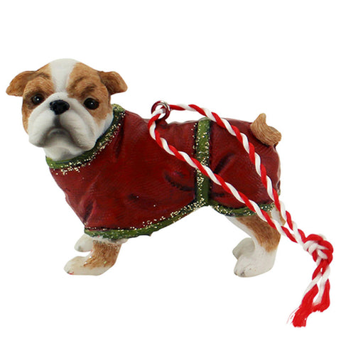 Hanging Bulldog Christmas Ornament