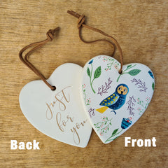 Hanging Heart Owl Ornament - Just For You
