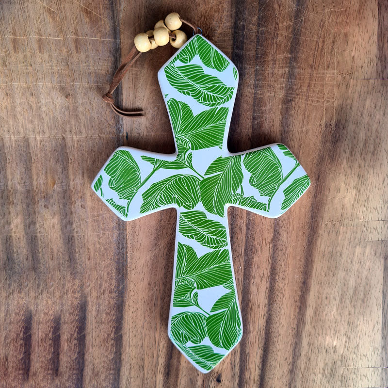 Hanging Ceramic Cross Tropical - Large