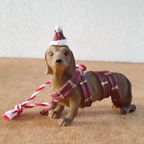 Hanging Dachshund Christmas Ornament