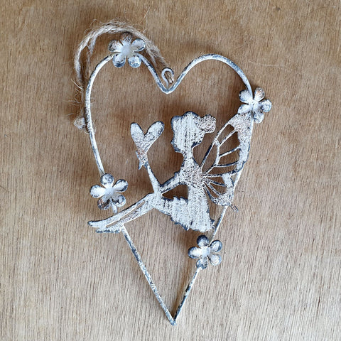 Hanging Metal Fairy in Heart - The Chic Nest
