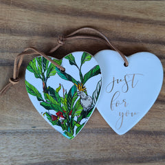 Hanging Heart Cockatoo Ornament - Just For You