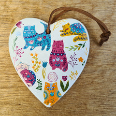 Hanging Heart Colourful Cats Ornament