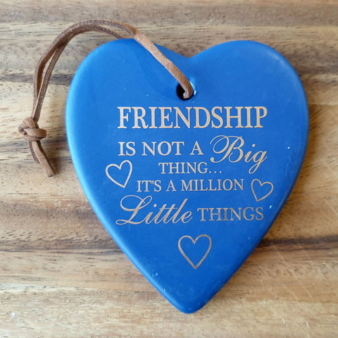 Hanging Heart Friendship Ornament - Navy