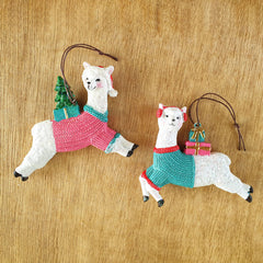 Llama in Jumper Hanging Ornament - Aqua