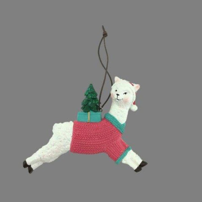 Llama in Jumper Hanging Ornament - Pink - The Chic Nest